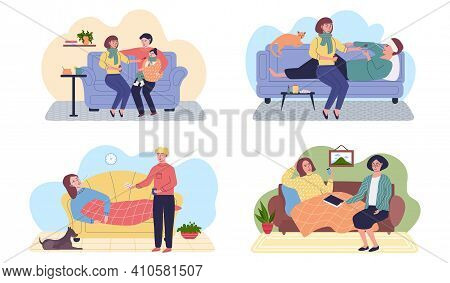 Set Of Illustrations About People On Self-isolation And Treatment Process. Self Care Concept. Charac