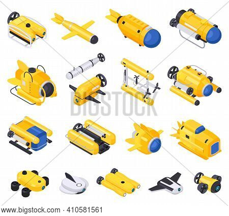 Underwater Vehicles Machines Equipment Isometric Icon Set With Machines For Diving For Scuba Diving