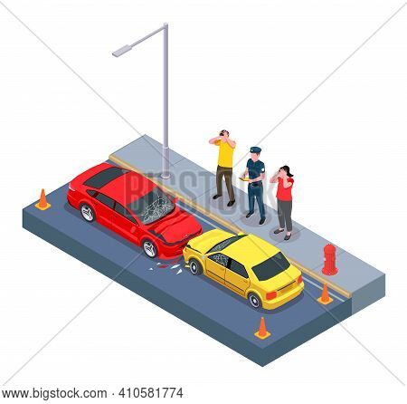 Car Ownership Usage Isometric Composition With View Of Two Crashed Cars With Characters Of Automobil