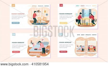 Fashion Workshop Landing Page Template Set With Designer Making Model. Workers Of Atelier Sew Dress,