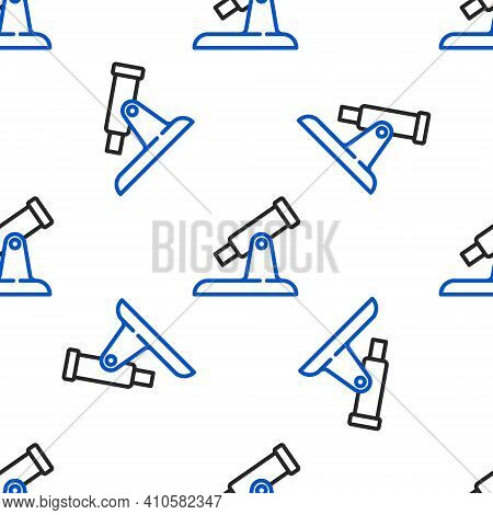 Line Telescope Icon Isolated Seamless Pattern On White Background. Scientific Tool. Education And As