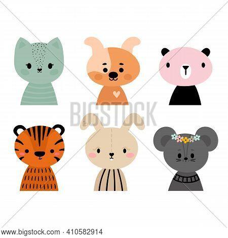 Cute Cartoon Animals For Postcard, Invitation, Nursery, Poster, T-shirt. Hand Drawn Characters Of Ti