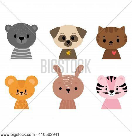 Cute Cartoon Animals For Postcard, Poster, Nursery, T-shirt, Invitation. Hand Drawn Characters Of Ti