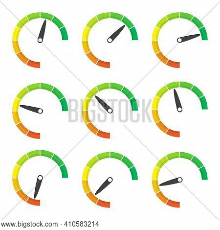 Rating Meter Gauge Element In A Flat Design. Vector Illustration