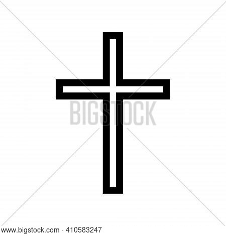 Cross Vector Shape Symbol. Christianity Sign. Christian Religion Icon. Catholic And Protestant Faith