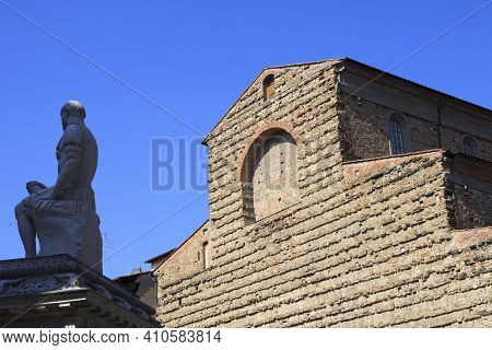 Firenze, Italy - April 21, 2017: Facade Of San Lorenzo Cathedral, Florence, Firenze, Tuscany, Italy