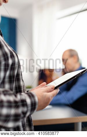 Midsection Senior Woman Using Digital Tablet In Home. Close Up Of Elderly Woman Using Moder Technolo