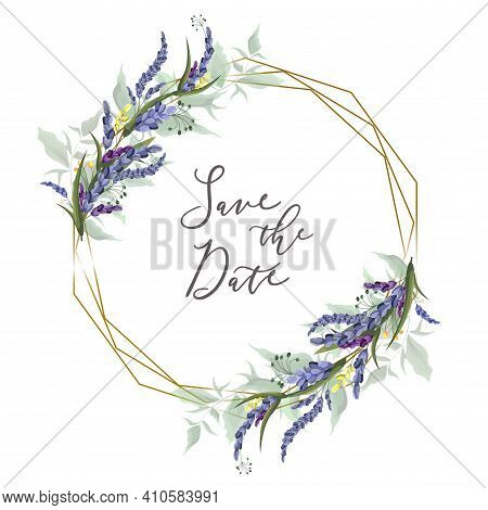Floral Design For Greeting Card. Polygonal Gold Frame With Lavender Flowers, Green Plants And Leaves