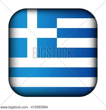 Glass Light Ball With Flag Of Greece. Squared Template Icon. Greek National Symbol. Glossy Realistic
