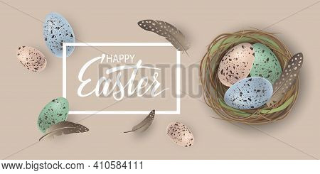 Happy Easter Banner With Speckled Easter Eggs In The Nest And Feathers On Beige Background. Greeting