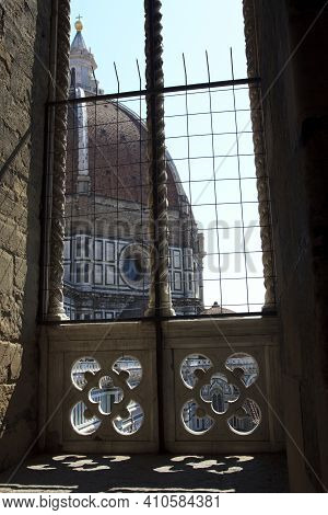 Firenze, Italy - April 21, 2017: The Duomo And  Brunelleschi Cupola In Florence View From A Window,