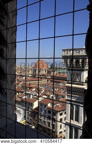 Firenze, Italy - April 21, 2017: A View Of The Medici Chapel And City Centre From A Window, Florence