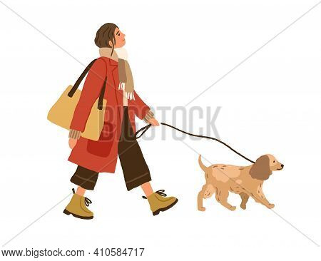 Trendy Young Woman Walking With Dog. Pet Owner Strolling With Cute Puppy On Leash. Hand-drawn Colore