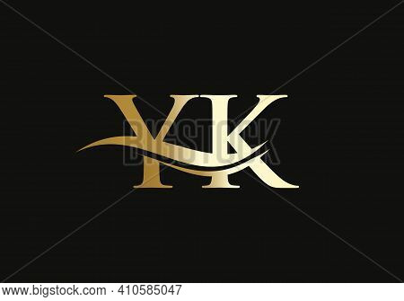 Creative Yk Letter With Luxury Concept. Modern Yk Logo Design For Business And Company Identity