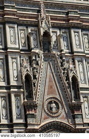 Firenze, Italy - April 21, 2017: The Duomo Facade With Statues In Florence, Firenze, Tuscany, Italy