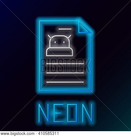Glowing Neon Line Technical Specification Icon Isolated On Black Background. Technical Support Check