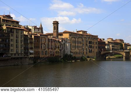 Firenze, Italy - April 21, 2017: Florence View And Carraia Bridge, Florence, Firenze, Tuscany, Italy