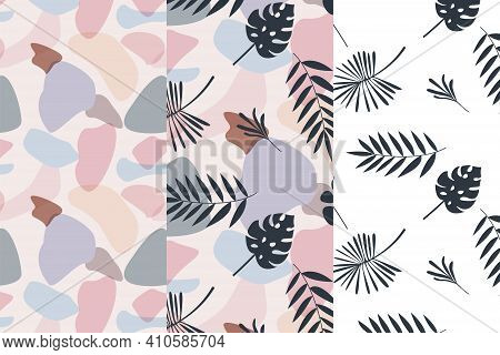 Set Abstract Exotic Seamless Pattern. Spots Colors  And Leaf Palm