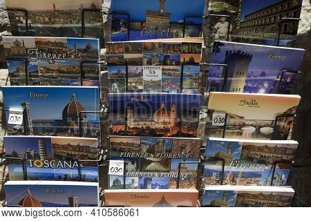Firenze, Italy - April 21, 2017: Postcards In A Gift Shop, Florence, Firenze, Tuscany, Italy