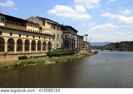 Firenze, Italy - April 21, 2017: Arno River View From Ponte Vecchio, Florence, Firenze, Tuscany, Ita
