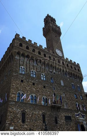 Firenze, Italy - April 21, 2017: Palazzo Vecchio In Florence, Firenze, Tuscany, Italy