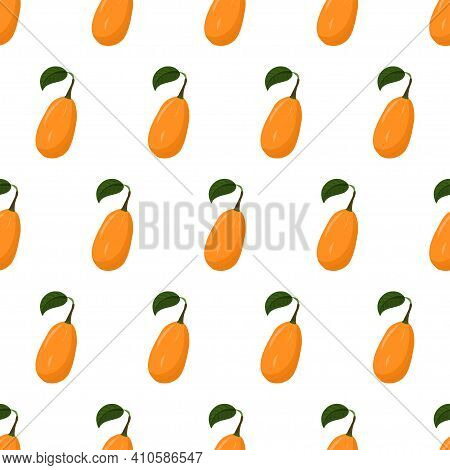 Cartoon Seamless Pattern For Paper Design With Kumquat, Orange Citrus Fruit. Colorful Background.