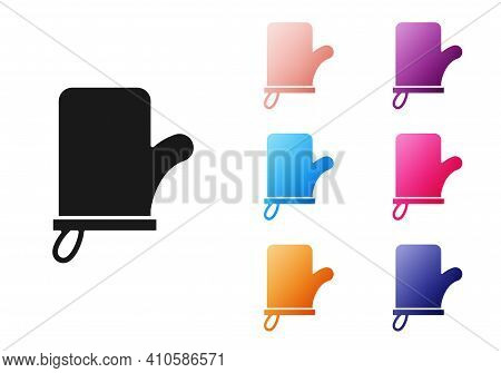 Black Sauna Mittens Icon Isolated On White Background. Mitten For Spa. Set Icons Colorful. Vector