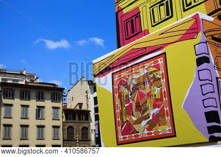 Firenze, Italy - April 21, 2014: Duomo Giotto Bell Tower Campanile Brunelleschi Cupola And Covered R