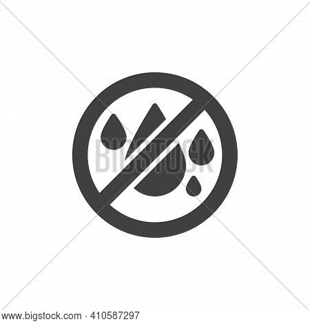 No Water Vector Icon. Filled Flat Sign For Mobile Concept And Web Design. No Liquids Glyph Icon. Not
