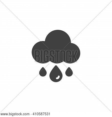 Rain And Cloud Vector Icon. Filled Flat Sign For Mobile Concept And Web Design. Cloud With Raindrop