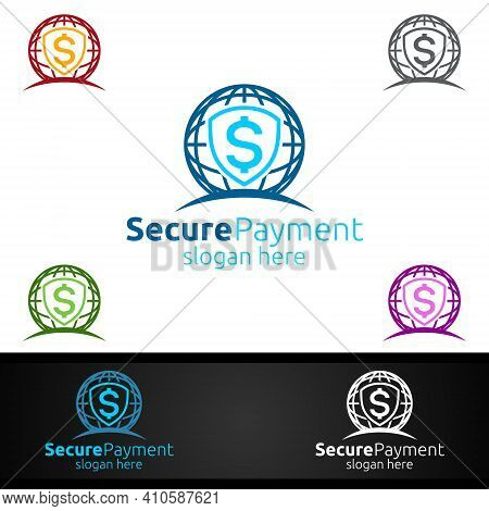 Global Online Secure Payment Logo For Security Online Shopping. Financial Transaction. Sending Money