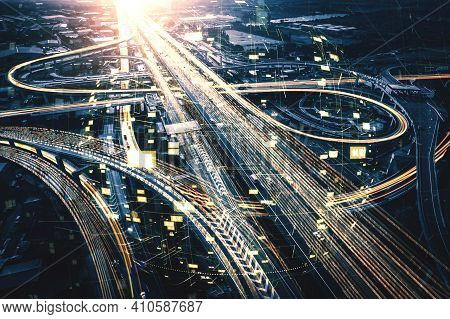 Futuristic Road Transportation Technology With Digital Data Transfer Graphic Showing Concept Of Traf