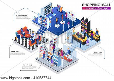 Shopping Mall Interior Isometric Concept. People Characters Work In Departments: Room Hall, Clothing
