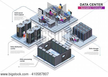 Data Center Interior Isometric Concept. Scenes Of People Characters Working In Departments: Server T