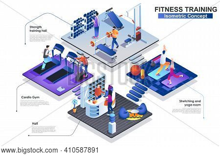 Fitness Training At Gym Interior Isometric Concept. Scenes Of Sport People Characters At Reception H