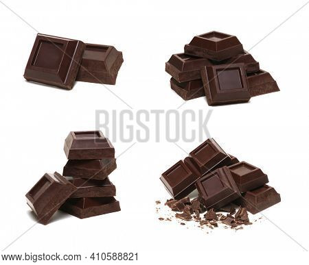 Chocolate bar set isolated on white background. Broken pieces