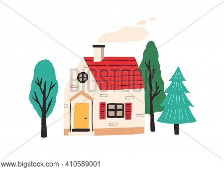 Cute Little Country House With Door, Windows And Attic. Exterior Of Home With Chimney And Smoke. Vil