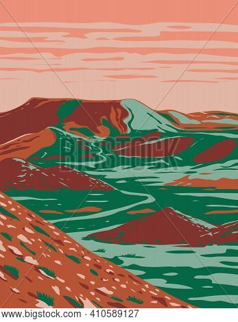 Wpa Poster Art Of The Alibates Flint Quarries National Monument  Showing Red Bluffs, Canyon Rims And