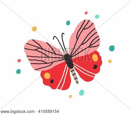 Top View Of Butterfly With Bright Spotty Wings. Exotic Flying Insect In Doodle Style. Colorful Flat
