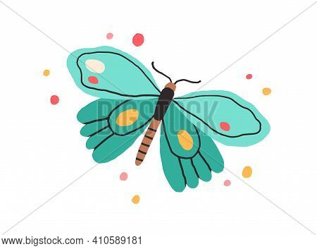 Top View Of Butterfly With Bright Spotty Wings. Exotic Flying Insect In Doodle Style. Colored Flat V