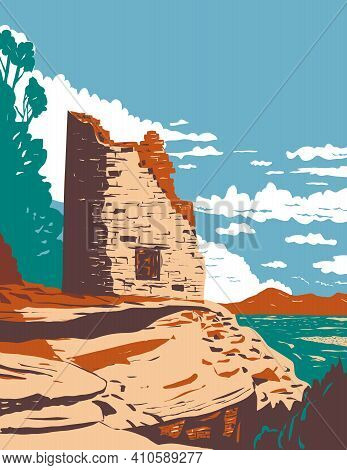Wpa Poster Art Of The Painted Hand Pueblo In Canyon Of The Ancients National Monument In Southwest C