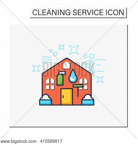 Exterior Cleaning Color Icon. Additional Cleanup Service. Cleaning Team. Environmental Care. Archite