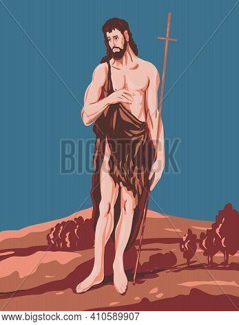 Wpa Poster Art Interpretation Of El Greco Domenikos Theotokopoulos Artwork, Saint John The Baptist C
