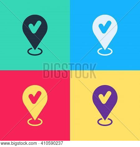 Pop Art Map Pin With Check Mark Icon Isolated On Color Background. Navigation, Pointer, Location, Ma