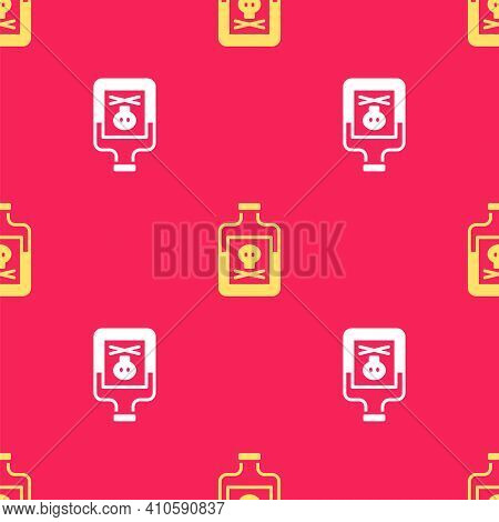 Yellow Poison In Bottle Icon Isolated Seamless Pattern On Red Background. Bottle Of Poison Or Poison