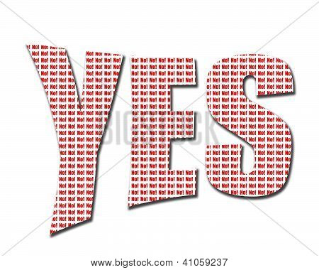 Yes And No Wording On White Background