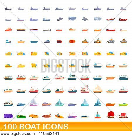 100 Boat Icons Set. Cartoon Illustration Of 100 Boat Icons Vector Set Isolated On White Background