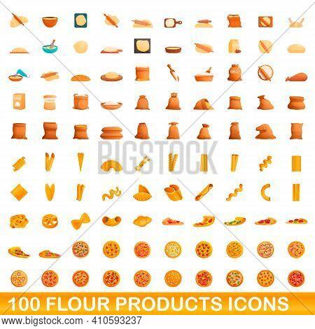100 Flour Products Icons Set. Cartoon Illustration Of 100 Flour Products Icons Vector Set Isolated O