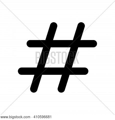 Hashtag vector icon. Hash tag symbol. Social media communication logo sign. Web application and interface button. Black silhouette image.