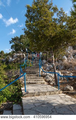 Ladder To Church Of The Prophet Elijah In Protaras, Republic Of Cyprus